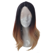 MOOI 60cm 3 Tones Mixed Colour Lace Front Wig Long Natural Wave Replacement Hair Wigs Half Hand Tied Synthetic Fibre Hair