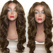 BeautyGal 70cm Full Body Wave Synthetic Wigs Long Curly Middle Part High Density Hair Wig