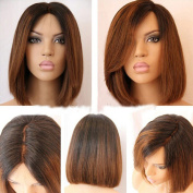Full Lace Wig Straight Human Hair Glueless Lace Front Wigs Bob Cut 100% Brazilian Virgin Hair Ombre Colour Natural Looking Short Wigs with Baby Hair