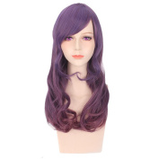 COSIN 60cm Long Curly Two Tone Mixed Colour Wigs Purple Mixed Rose Red Wigs for Women Girls Wig Cap Included