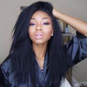 Italian Coarse Yaki Brazilian Virgin Lace Front Human Hair Wig for Black Women with Baby Hair Around 130 Density 1b Colour