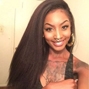 Kinky Straight 100% Brazilian Virgin Hair natural black colour Lace Front Human Hair Wig for Black Women