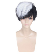 COSIN Cool Men Boys Short Straight Black to White Two Tone Mixed Colour Wigs for Cosplay or Daily Use with Wig Cap