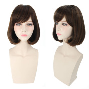 "COSIN 12"" Women Girls Short Straight Bob Wig with Oblique Bangs for Cosplay or Daily Use"