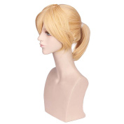 COSIN Short Straight Blonde Wigs with Ponytail for Costume Party or Daily Use Hairnet Included