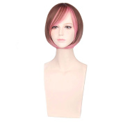 "COSIN 12"" Short Straight Two Tone Bob Wig Brown Mixed Pink Colour Cosplay Party Wigs with Hairnet"