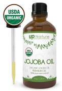 UpNature The Best Organic Jojoba Essential Oil 120ml - Cold Pressed - Pure Unrefined GMO Free Premium Quality - With Glass Dropper - For Hair, Face And Skin use