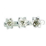 Roses Hair Barrette, Silver Plated Alpaca