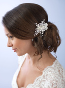 USABride Bridal clip adds a soft elegant accent to your bridal hairstyle Hair clip has a silver-plated finish features embellished leaves Hand-wired rhinestones and soft white simulated pearls TC-2283