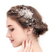 VANKOKO Vintage Frayed Flower Pearl Crystal Bridal Hair Clips Headpiece Wedding Hair Accessories