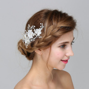 VANKOKO Bridal Flower Side Hair Clips Pearl Crystal Bridal Headpiece