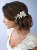 USABride Botanical Wedding Clip Features Both Rhinestone Encrusted And Frosted Silver-Plated Leaves This Hair Clip Has White Simulated Pearls And Hand-wired Rhinestone Accents TC-2278