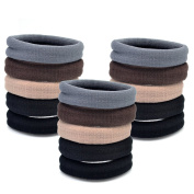 Yishenyishi 15pcs Girl Elastic Hair Ties ,No Slipping Damage Breaking or Stretching Out.,Seamless Ponytail Holders Sports Hair Ties for Thick Hair