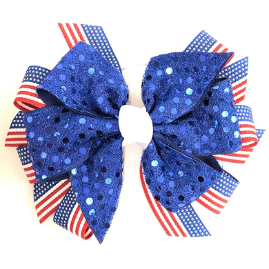 Patriotic 4th of July Flag Blue Sequin Hair Bow, Made in the USA White Pony Band