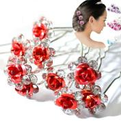 AKOAK 20 Pcs/Lot Women Wedding Bridal Clear Crystal Rhinestone Rose Flower Hair Pin Clips Hair Accessories Jewellery Barrettes Headwear(Red)