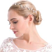 VANKOKO Boho Pearl Bridal Headpiece Headband Wedding Hair Accessories