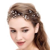 VANKOKO Womens Crystal Pearl Bridal Hair Vine Headpiece headband for Wedding