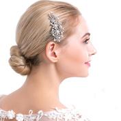 VANKOKO Pearl Rhinestones Leaf Bridal Side Hair Comb Headpiece Wedding Hair Accessories