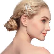 VANKOKO Vintage Leaf Flower Pearl Bridal Side Hair Comb Headpiece Wedding Hair Accessories