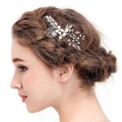 VANKOKO Vintage Leaf Crystal Bridal Headpiece Side Hair Comb Wedding Accessory