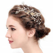 VANKOKO Vintage Leaf Pearl Headpiece Side Hair Comb Wedding Accessory Gold
