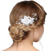 VANKOKO Bridal Flower Side Hair Comb Wedding Accessory Rhinestone Headpiece