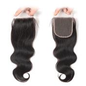 West Kiss Hair Body Wave Brazilian Virgin Human Hair Free Part 4x 4 Lace Closure No Bleached Knots