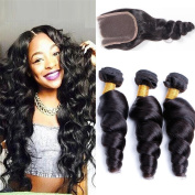 ALIBALLY 3 Bundles With Closure Free Part 10A Unprocessed Human Hair Bundles Brazilian Loose Wave With Closure Brazilian hair Style 100% Virgin Human Hair With Closure