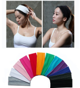 Yeshan Pack of 12 Wicking Stretchy Athletic Bandana Headbands / Head wrap / Yoga Headband / Head Scarf / Best Looking Hairband for Sports or Fashion