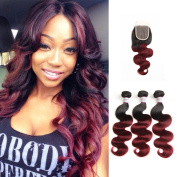 Racily Hair Ombre Brazilian Hair Body Wave with Closure T1B/Burgundy Brazilian Virgin Hair with Closure