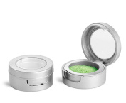 MagnaKoys Makeup Lip Balm Eyeshadow Cosmetic Container 3 ml Silver Plastic Compact Jars w/ Hinged Lids & Clear Windows
