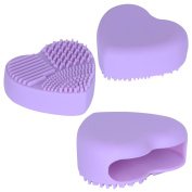 Elite99 Makeup Brush Cleaner Heart Shape Silicone Brush Cleaning Mat Egg for Makeup or Nail Brushes Purple