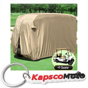 Waterproof Superior Beige Golf Cart Cover Covers Club Car, EZGO, Yamaha, Fits Most Four-Person Golf Carts + KapscoMoto Keychain