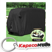 Waterproof Superior Black Golf Cart Cover Covers Club Car, EZGO, Yamaha, Fits Most Four-Person Golf Carts + KapscoMoto Keychain