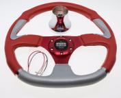 Club Car Precedent Steering Wheel with Hub Adapter -Red & Grey