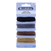 Cord Variety Pack, Wax Cotton, 1 mm (.04 in), Black, Silver, Brown, Light Brown, 5 m (5.5 yd) ea 138Z-018