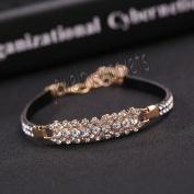 11# New Jewellery Fashion Cute Black Crystal Leather Cuff Bangle Bracelet Wristband