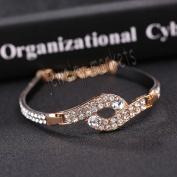 10# New Jewellery Fashion Cute Black Crystal Leather Cuff Bangle Bracelet Wristband