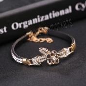 3# New Jewellery Fashion Cute Black Crystal Leather Cuff Bangle Bracelet Wristband