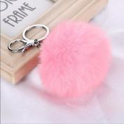 silver pink - Rabbit Fur Ball PomPom Cell Phone Car Keychain Pendant Handbag Charm Key Ring