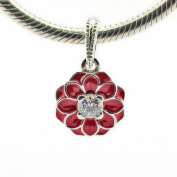 FASHICON Summer Red Oriental Bloom Hanging Charm Authentic 925 Sterling Silver Bead DIY Fits for European Brand Bracelets Jewellery