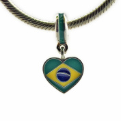 FASHICON 2016 Summer Brazil Heart Flag Pendant Charm with Mixed Enamel Authentic 925 Silver Bead DIY Fits for European Bracelets Jewellery