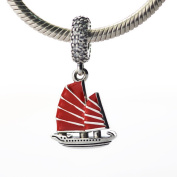FASHICON 2016 Summer Chinese Junk Ship Charm with Red Enamel & Clear CZ Authentic 925 Sterling Silver Bead Fits for European Bracelets DIY Charm Jewellery