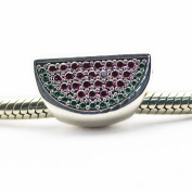 FASHICON 2016 Summer Pave Watermelon Bead Authentic 925 Sterling Silver DIY Fits for European Brand Bracelets Jewellery