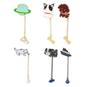 SIVITE 6PCS Cute Cartoon Cat Dog Moon Chain Brooch Pin with Pendant for Clothes Set Hat Bag Corsage Badge