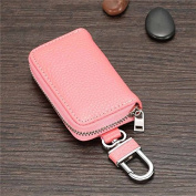 Premium Leather Car Key Chain Hook Coin Holder Zipper Case Remote Wallet Bag pink
