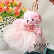 Free S & H flower dress plush bear toy pendant bag ornaments key chains keyring pink
