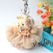 Free S & H flower hat plush bear pendant bag charm keychains keyring kids toy gift brown
