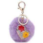 Crystal Heart Flower Fluffy Rabbit Fur PomPom Ball Bag Charm Key Chain Keyring purple