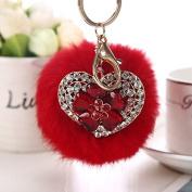 Fluffy Rabbit Fur Heart Flower Pompom Ball Car Pendant Bag Charm Key Chain red